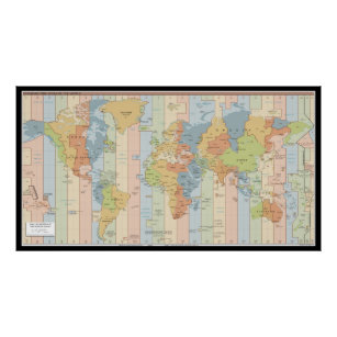 Time zone posters zazzle world time zone map poster gumiabroncs Choice Image