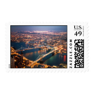 world trade center bridges night east river postage