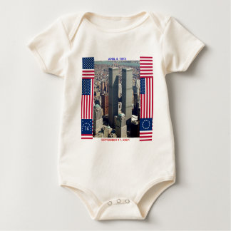 World Trade Center Complex and U.S. Flags Baby Bodysuit