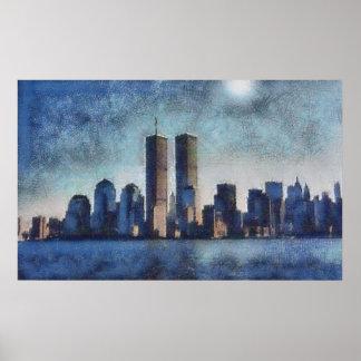 World Trade Center en pasteles Póster