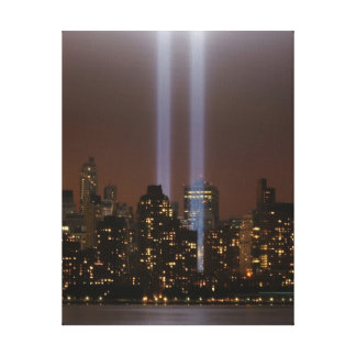 World trade center tribute in light in New York. Canvas Print