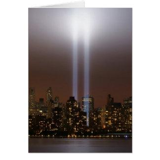 World trade center tribute in light in New York. Card