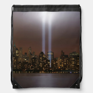 World trade center tribute in light in New York. Drawstring Bag