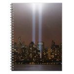 World trade center tribute in light in New York. Notebooks