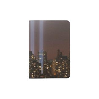 World trade center tribute in light in New York. Passport Holder