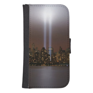 World trade center tribute in light in New York. Phone Wallet