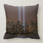 World trade center tribute in light in New York. Throw Pillow