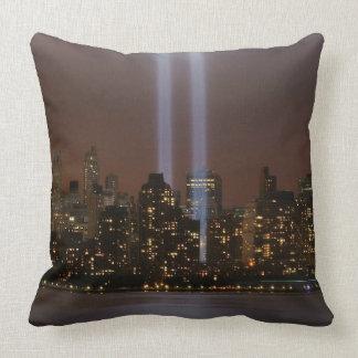 World trade center tribute in light in New York. Throw Pillow