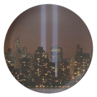 World trade center tribute in light in New York Dinner Plates