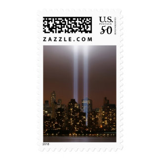 World trade center tribute in light in New York. Postage