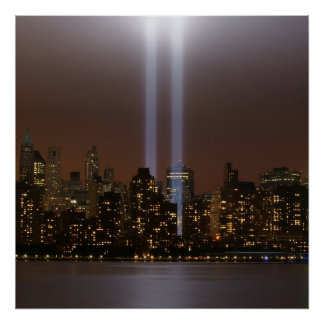 World trade center tribute in light in New York. Poster