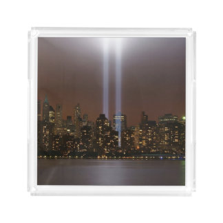 World trade center tribute in light in New York. Square Serving Trays