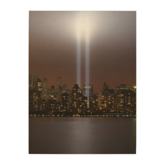 World trade center tribute in light in New York. Wood Canvas