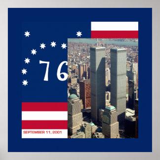 World Trade Center y bandera 9/11 de Bennington lo Póster