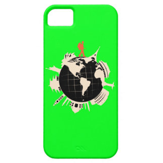 World Travel Backpacker Lime Green iPhone Case