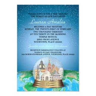 World Travel Bar Bat Mitzvah Snow Globe Card