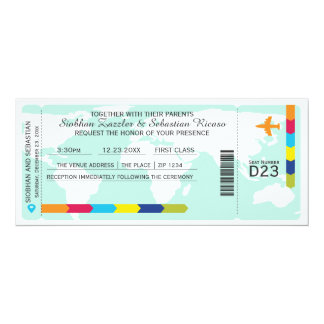 World Travel Boarding Pass Wedding Ticket 4x9.25 Paper Invitation Card