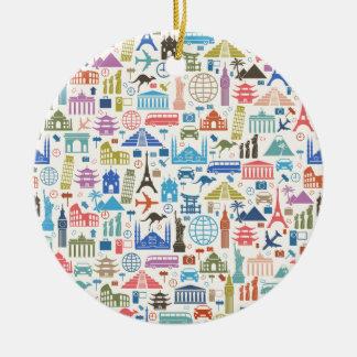 world travel ceramic ornament
