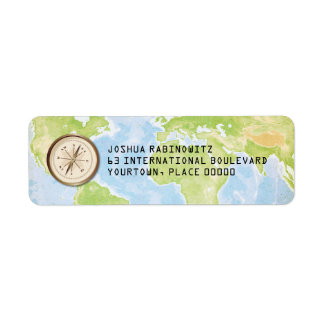 World Travel Compass Bar Bat Mitzvah Label