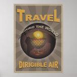 World Travel dirigible del vintage de Steampunk de Poster