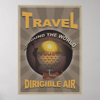 World Travel dirigible del vintage de Steampunk de Póster