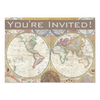 World Travel Map Antique Vintage Card