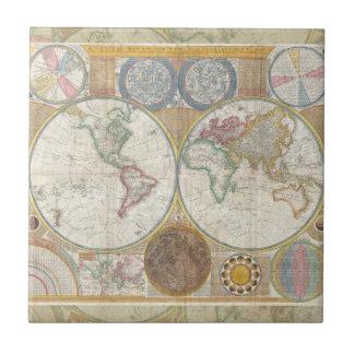 World Travel Map Antique Vintage Ceramic Tile