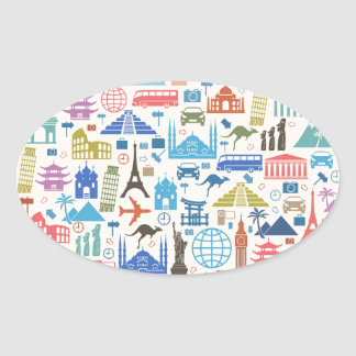 world travel oval sticker
