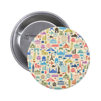 world travel pinback button