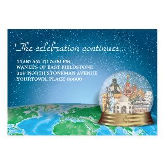 World Travel Snow Globe Bar Bat Mitzvah Reception Large Business Card