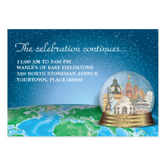 World Travel Snow Globe Bar Bat Mitzvah Reception Large Business Cards (Pack Of 100)