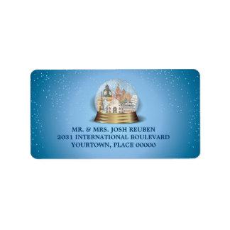 World Travel Snow Globe Return Address Label