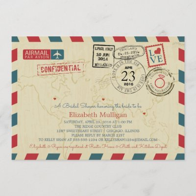 World Traveler Airmail | Bridal Shower Invitation