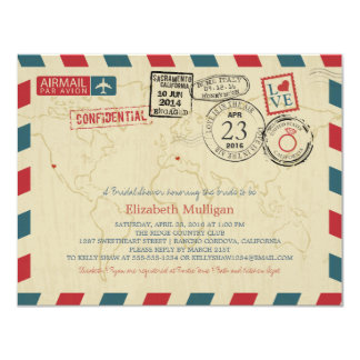 World Traveler Airmail | California Bridal Shower Card