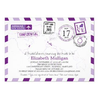 World Traveler Airmail | Maryland Bridal Shower 5x7 Paper Invitation Card