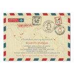 "World Traveler Airmail | New York Bridal Shower Invitación 5"" X 7"""