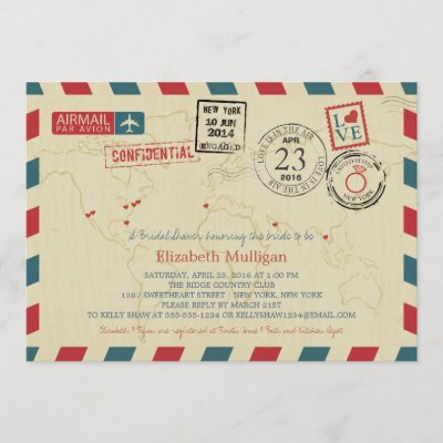 World Traveler Airmail | New York Bridal Shower Invitation