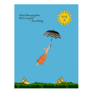 World traveler card with flying woman and umbrella