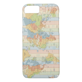 World Traveler Colorful Map of Time Zones iPhone 7 Case