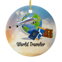 World Traveler, Design 2 Ceramic Ornament
