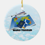 World Traveler Double-Sided Ceramic Round Christmas Ornament