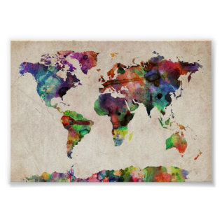 World Traveler Map Vintage Rustic Poster Print at Zazzle