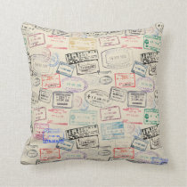 World Traveler Passport Stamp Pattern Throw Pillow