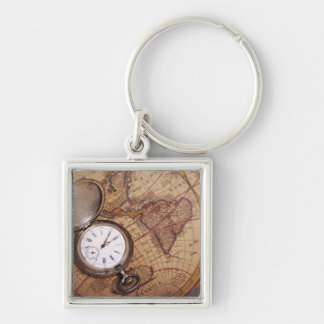 World Traveler Silver-Colored Square Keychain
