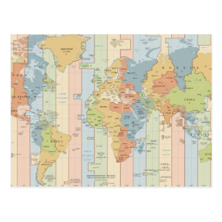 World Traveler Time Zones of Europe and Africa Postcard