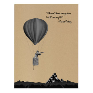 World traveler with hot air balloon and mountains postcard