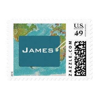 World traveler / world map / luggage tag postage