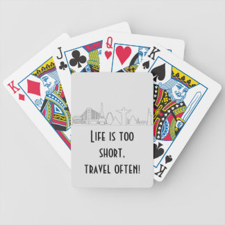 world traveler, world monuments, skyline, tourist bicycle playing cards