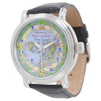 World Traveler's Time Zones Wrist Watches