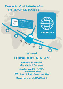 Farewell party invitations announcements zazzle world travels farewell party invitation stopboris Image collections